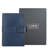 40-pocket card holder, leather blue