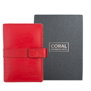 Business card holder leather red